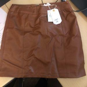 Brown pleather skirt